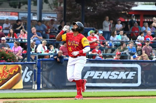 Reading Hot Dogs (Fightin Phils) outfielder Jorge Bonifacio rounds the bases after his homer