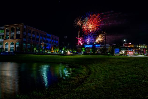 Fireworks over Blue Wahoos Stadium, home of the Pensacola Blue Wahoos