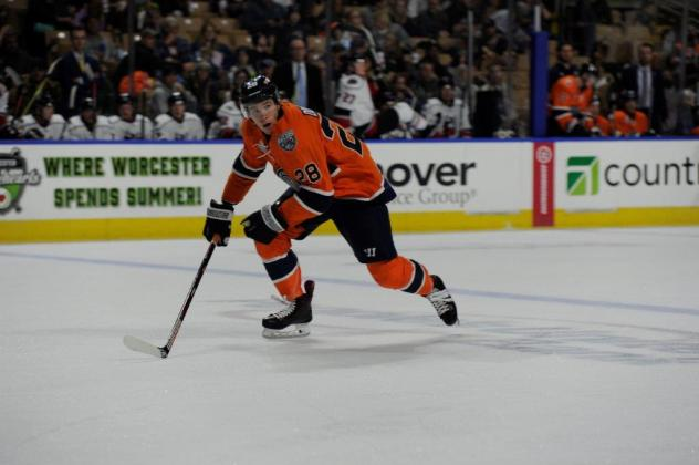 Defenseman Connor Doherty with the Worcester Railers