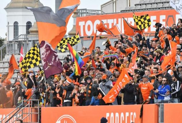 Forge FC fans cheer on the team