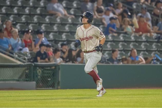 Morgan McCullough rounds the bases after a solo home run against the Chicago Dogs in the 5-2 win for the Kansas City Monarchs