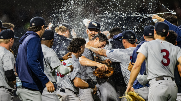 Scranton/Wilkes-Barre RailRiders pitcher Sean Boyle is mobbed after his no-hitter