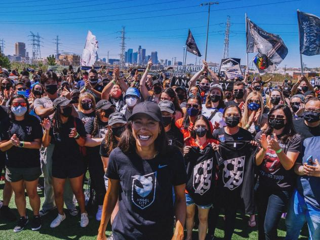 Christen Press and Angel City FC supporters