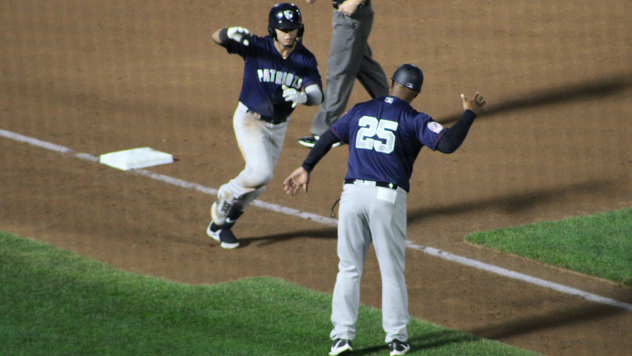Jesus Bastidas of the Somerset Patriots rounds third after a home run