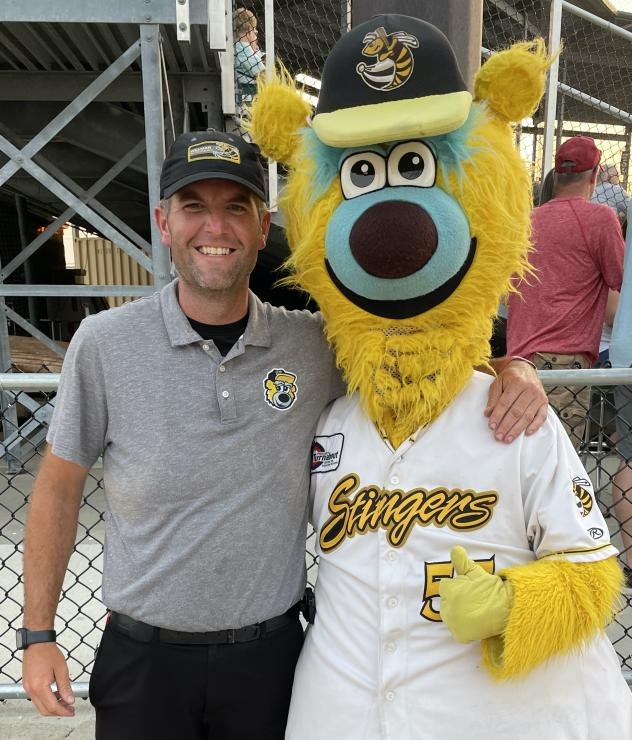 Willmar Stingers General Manager Nick McCallum and mascot Barry