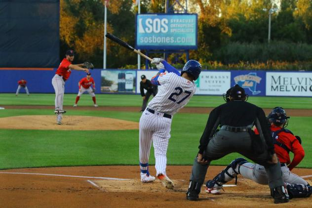 Mark Vientos had three hits, including his first career Triple-A home run, on Friday night in a Syracuse Mets win