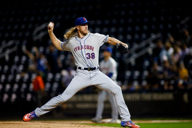 Noah Syndergaard pitched a perfect inning in a Major League rehab assignment with the Syracuse Mets Wednesday