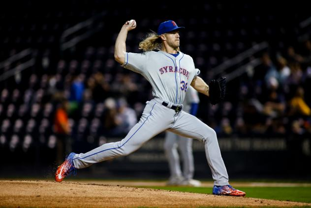 Noah Syndergaard struck out two batters and pitched a scoreless inning in a Major League rehab assignment with the Syracuse Mets