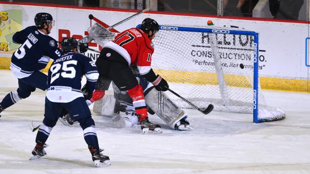 Adirondack Thunder forward Alex Carrier scores against the Worcester Railers
