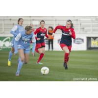 Christine Nairn of the Washington Spirit Closes in on the Ball vs. UNC