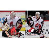 Zach Sawchenko and Brett Howden of the Moose Jaw Warriors