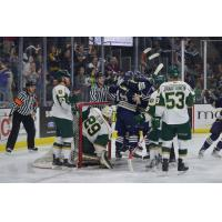Sioux Falls Stampede Celebrate Goal vs. Sioux City Musketeers