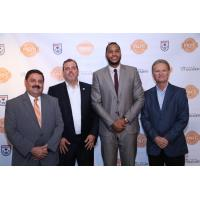 NASL Commissioner Bill Peterson, Carmelo Anthony and the Puerto Rico FC Ownership Group