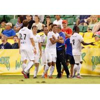 Bruno Nunes of the Fort Lauderdale Strikers Gets Congratulated