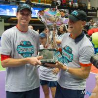 Sam Querrey and Coach Murphy Jensen of the Washington Kastles with the King Trophy