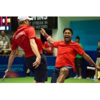 Leander Paes of the Washington Kastles Congratulates Teammate Sam Querrey
