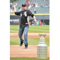 Patrick Sharp Throwing out the First Pitch at a Chicago Cubs Game