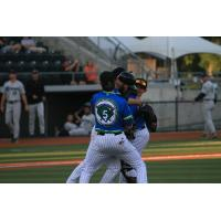 Eugene Emeralds Infielders Surround Reliever Trey Masek