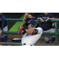 Ryan LaMarre of the Louisville Bats Follows through on Home Run Swing