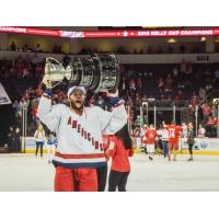 Allen Americans Forward Dyson Stevenson with the Kelly Cup