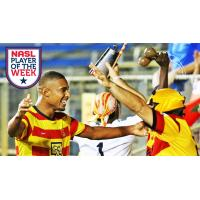 Fort Lauderdale Strikers Forward Stefano Pinho Celebrates with a Fan