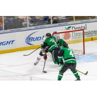 Texas Stars Defend the Goal vs. the Rockford IceHogs