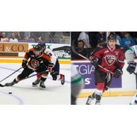 Trevor Cox of the Medicine Hat Tigers and Clayton Kirichenko of the Vancouver Giants