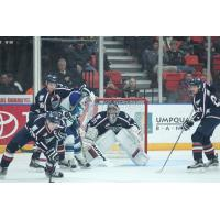 Tri-City Americans Defend agains the Swift Current Broncos