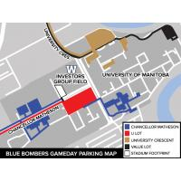 Blue Bombers Gameday Parking Map