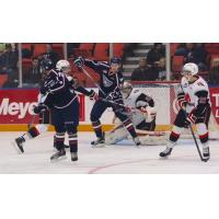 Tri-City Americans Attack Moose Jaw Warriors Goal