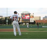 Indianapolis Indians Manager Dean Treanor Surveys the Field