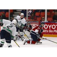 Tri-City Americans Defend against the Seattle Thunderbirds