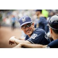 New Biloxi Shuckers Manager Mike Guerrero with the Milwaukee Brewers