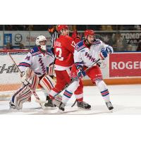 Kitchener Rangers Defend their Goal vs. the Sault Ste. Marie Greyhounds