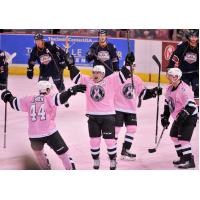 San Antonio Rampage Celebrate a Gaol in Pink in the Rink Jerseys