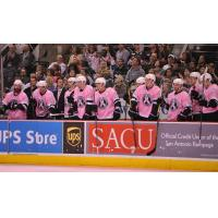 San Antonio Rampage Bench Wearing Pink in the Rink Jerseys