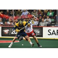 Chad Tutton of the Georgia Swarm Fights for a Loose Ball vs. the Calgary Roughnecks