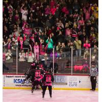 Fans Celebrate a Goal at Austin Bruins Paint the Rink Pink Game