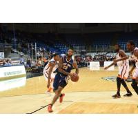 Saint John Mill Rats Forward Gabe Freeman Drives to the Basket against the Island Storm