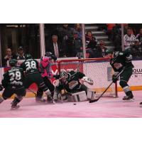 Tri-City Americans Attack the Everett Silvertips Net on Pink Ice