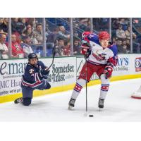 Johnstown Tomahawks Forward Andrew Romano and Aston Rebels Defenseman Gvido Jansons