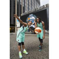Tina Charles and Epiphanny Prince Model New York Liberty Uniforms in Front of Madison Square Garden