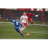 Enzo Martinez of the Charlotte Independence Prepares to Unleash a Shot vs. New York Red Bulls II