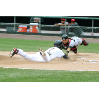 Trea Turner of the Syracuse Chiefs Slides in Safely for a Run vs. the Rochester Red Wings