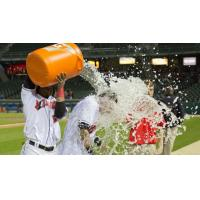 Gift Ngoepe Douses Danny Ortiz following Saturday's Walk off Victory for the Indianapolis Indians