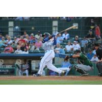 Jeffrey Baez Swings away for the Myrtle Beach Pelicans