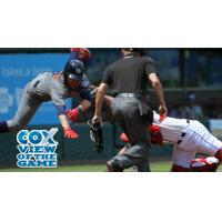 Pawtucket Red Sox Catcher Dan Butler Tags out Carlos Alonso of the Lehigh Valley IronPigs