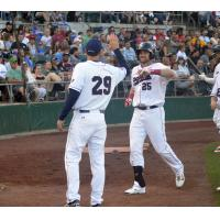 Brad Snyder of the Somerset Patriots Comes in to Score