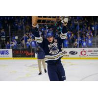 Sioux Falls Stampede Forward Kieffer Bellows Hoists the Clark Cup