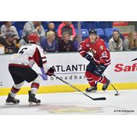 Johnstown Tomahawks Forward Filips Buncis Carries the Puck up the Ice against the New Jersey Titans